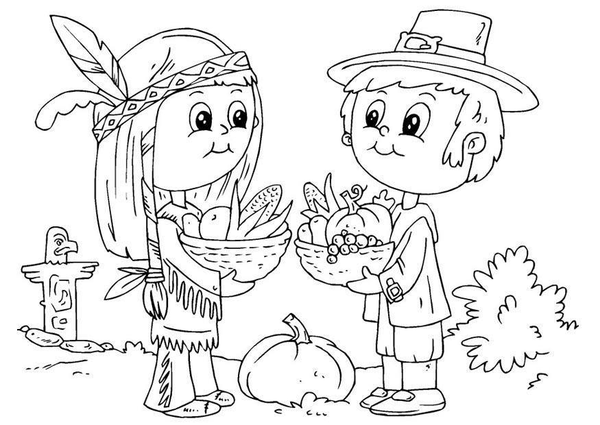Malvorlage Indianer und Pilger : Ausmalbild 22910.
