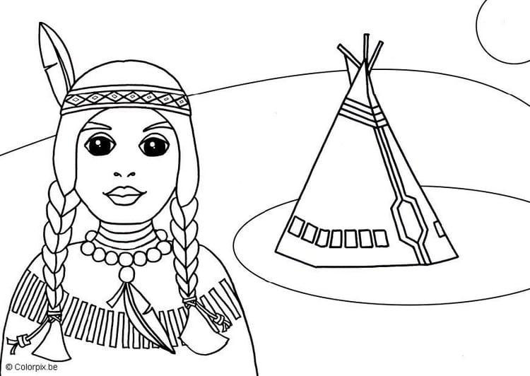 Malvorlage Indianerin Ausmalbild 15525