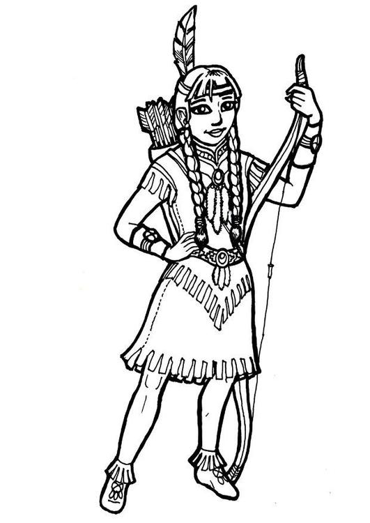 Malvorlage Indianermdchen  Ausmalbild 18261