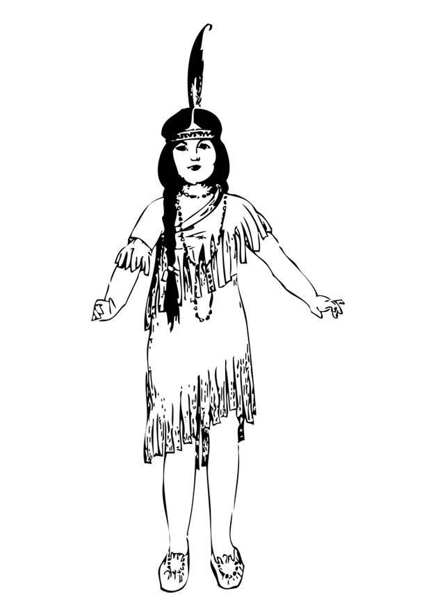 Malvorlage Indianermädchen Ausmalbild 17086