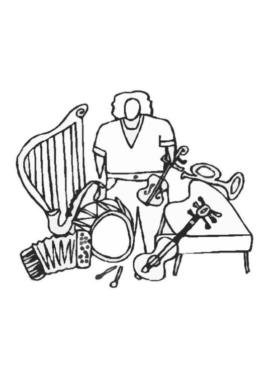malvorlage instrumente  kostenlose ausmalbilder zum