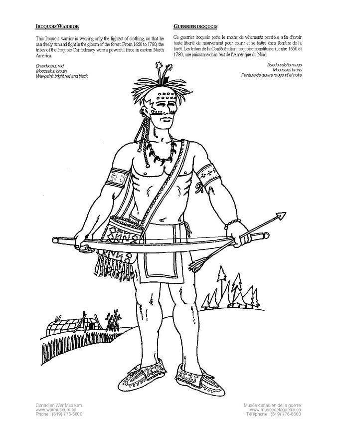 Malvorlage Irokese Indianer | Ausmalbild 4229.