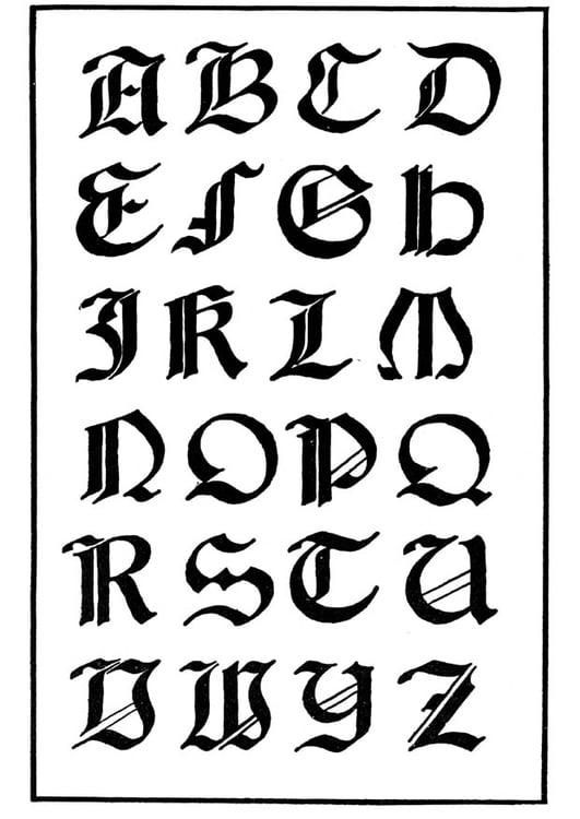 Malvorlage italienisch gotische Schrift | Ausmalbild 11229.