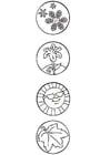 Malvorlage  Jahreszeitensymbole