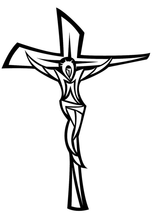 Malvorlage Jesus am Kreuz | Ausmalbild 24668.