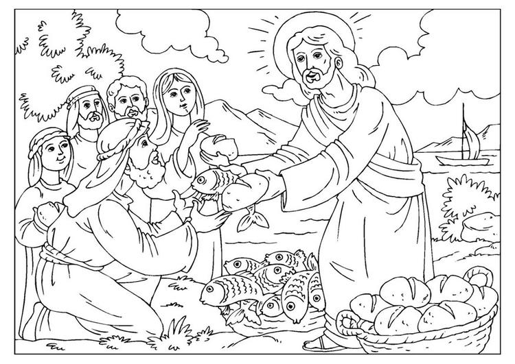 Malvorlage Jesus Verteilt Brot Und Fisch Ausmalbild 25924