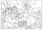 Malvorlage  Jesus verteilt Brot und Fisch