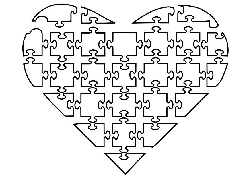 Malvorlage Jigsaw Herz | Ausmalbild 21144.