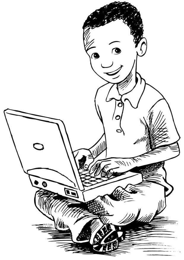 malvorlage junge auf dem laptop  kostenlose ausmalbilder