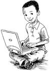 Malvorlage  Junge auf dem Laptop