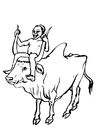 Malvorlage  Junge auf Kuh
