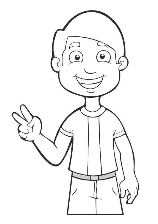 Malvorlage Junge - Frieden | Ausmalbild 27468.