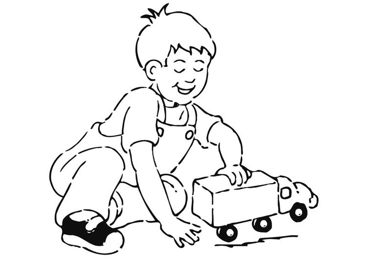 Malvorlage Junge mit Auto | Ausmalbild 20952.