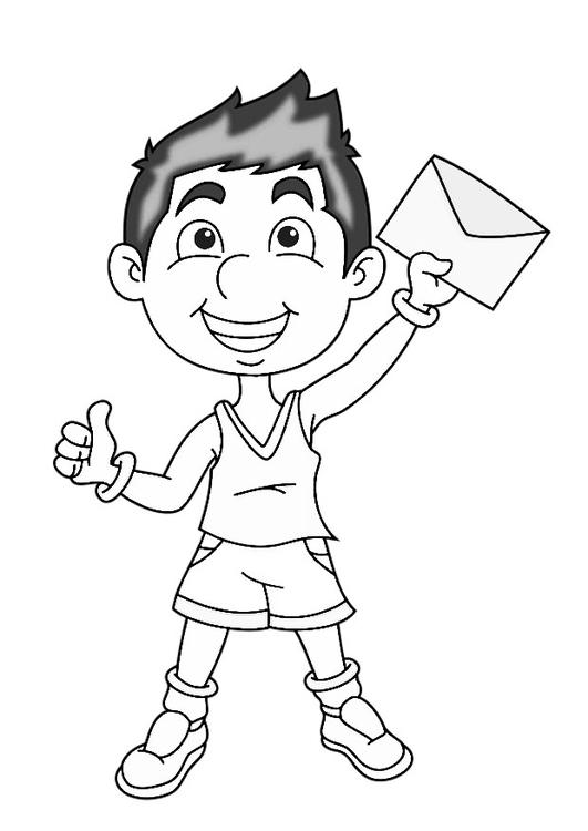Ausmalbild Junge: Malvorlage Junge Mit Brief