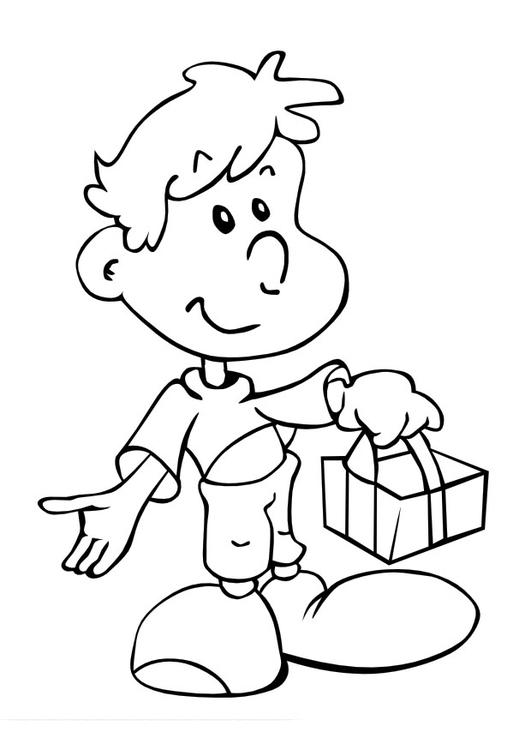 malvorlage junge mit geschenk  kostenlose ausmalbilder