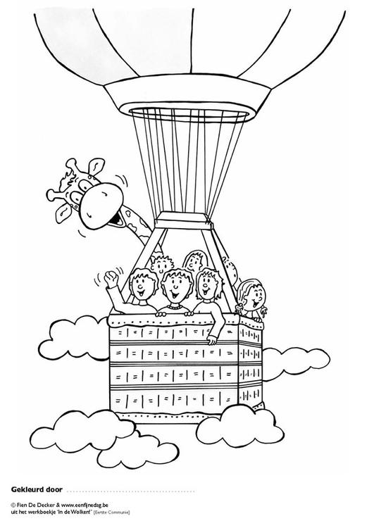 Malvorlage Juul und seine Freunde im Ballon | Ausmalbild 9703.