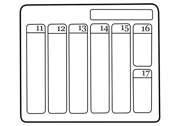 Malvorlage Kalender | Ausmalbild 18739.