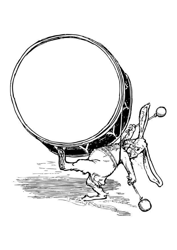 malvorlage kaninchen mit trommel  kostenlose ausmalbilder
