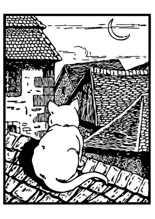 Malvorlage Katze Auf Dem Dach Kostenlose Ausmalbilder Zum