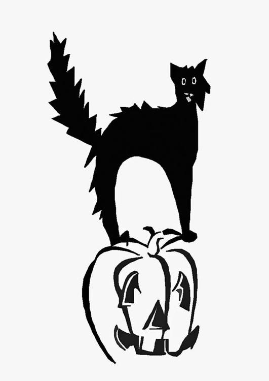 Malvorlage Katze Auf Kürbis Ausmalbild 8586