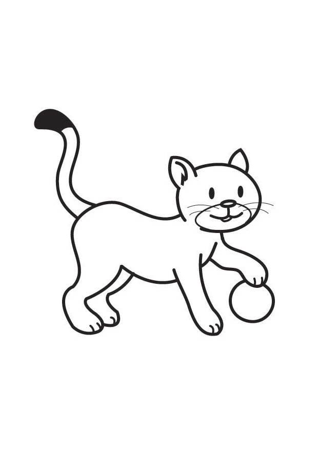 malvorlage katze mit ball  kostenlose ausmalbilder zum