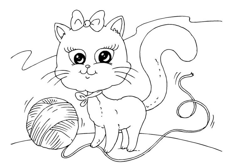 Malvorlage Katze und Wolle   Ausmalbild 22645.