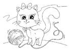 Malvorlage  Katze und Wolle