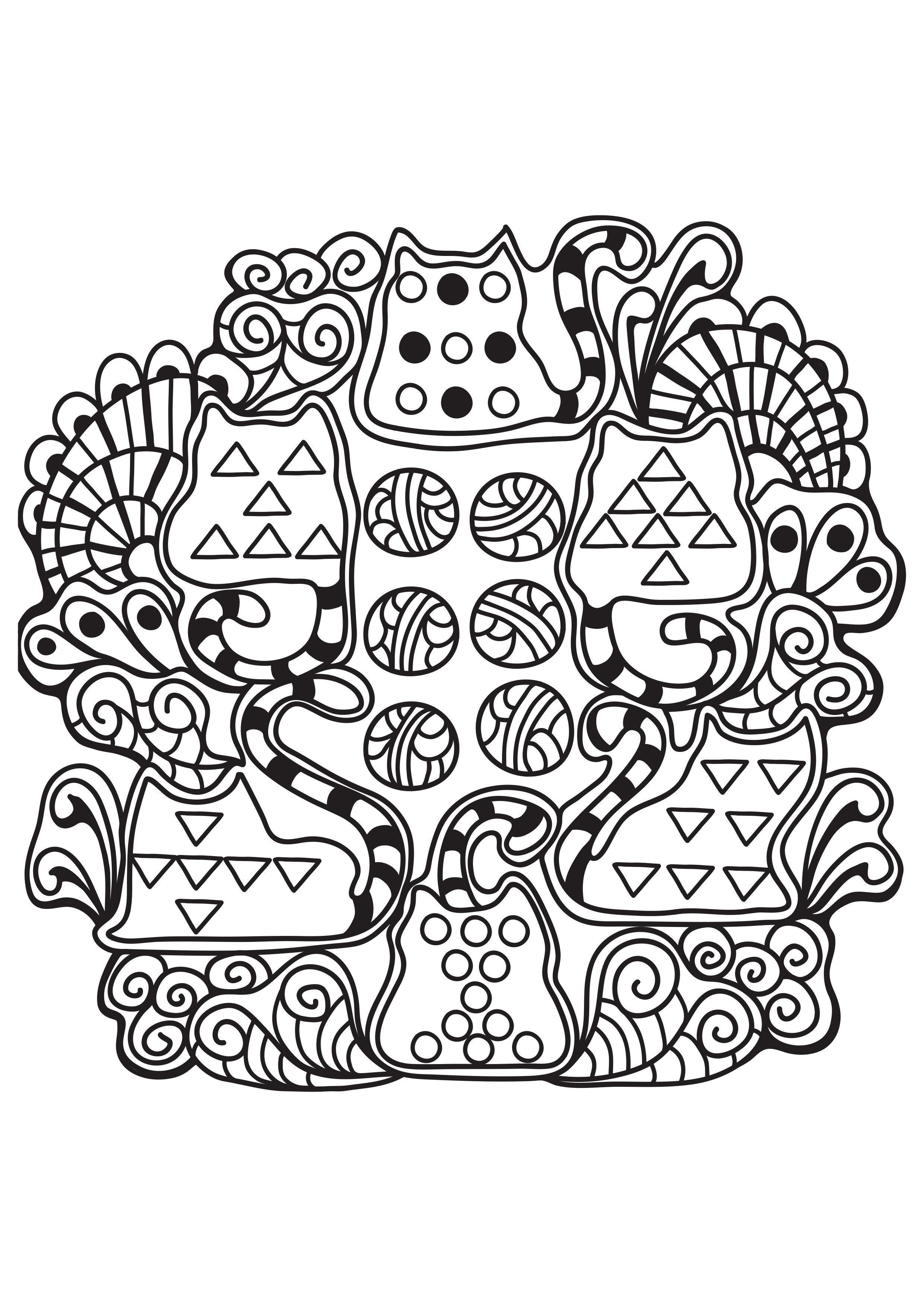 Malvorlage Katzen Mandala - Kostenlose Ausmalbilder Zum Ausdrucken