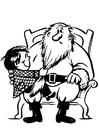 Malvorlage  Kind beim Weihnachtsmann
