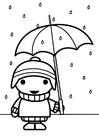 Malvorlage  Kind mit Regenschirm