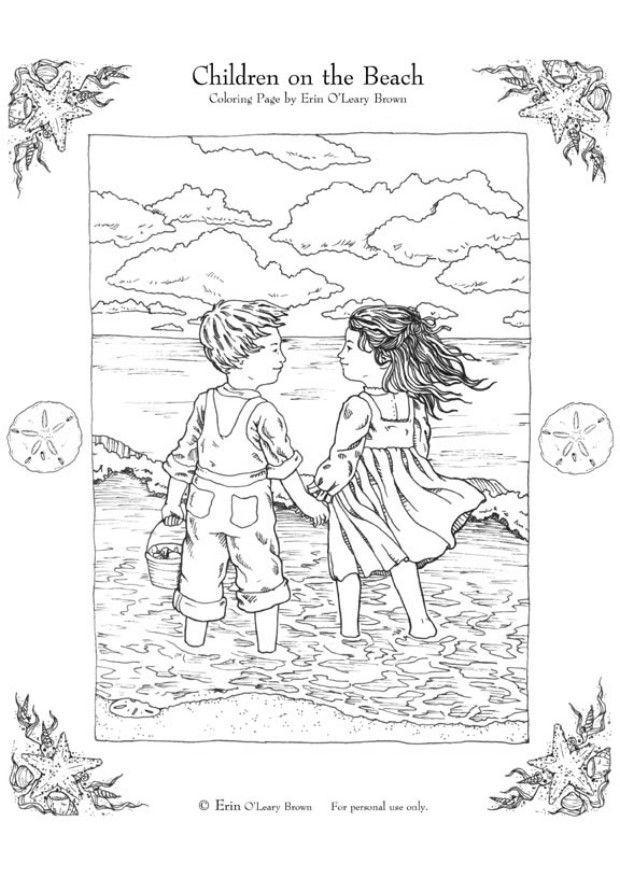 malvorlage kinder am strand  kostenlose ausmalbilder zum