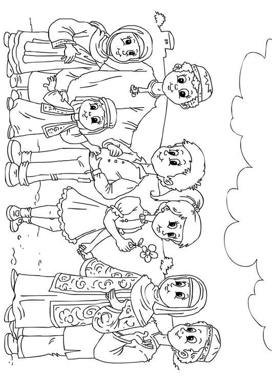 malvorlage kinder aus dem westen in muslimkultur ausmalbild 26243. Black Bedroom Furniture Sets. Home Design Ideas