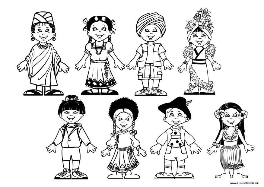 Malvorlage Kinder der Welt | Ausmalbild 9281.