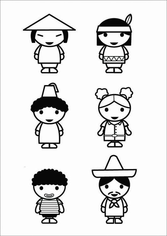 Malvorlage Kinder Kulturen Ausmalbild 26424 Images