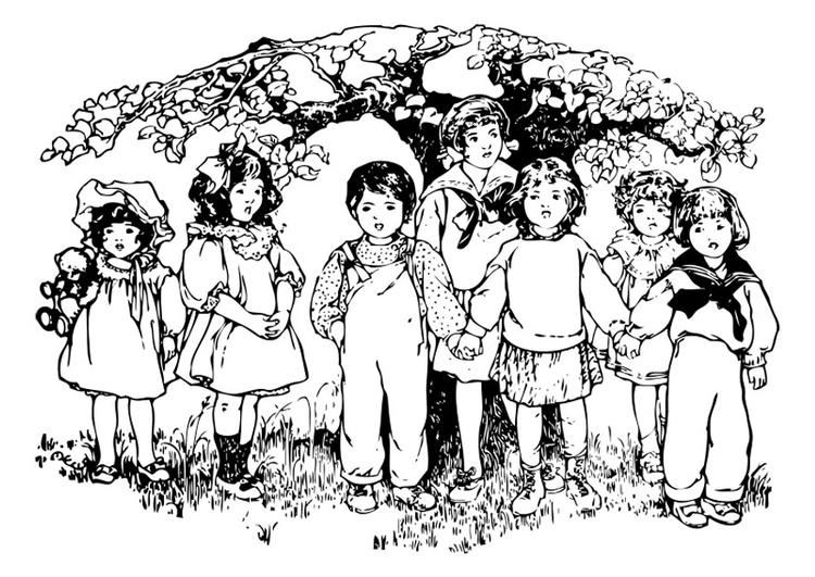 Malvorlage Kinder Unter Dem Baum Ausmalbild 27571