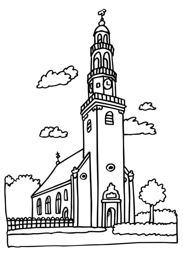 Malvorlage Kirche | Ausmalbild 6513.