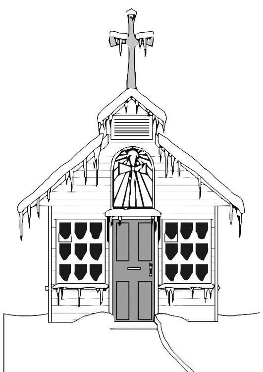 Malvorlage Kirche im Winter | Ausmalbild 20529.