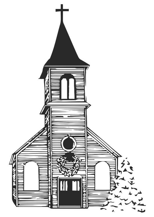 Malvorlage Kirche im Winter | Ausmalbild 20530.