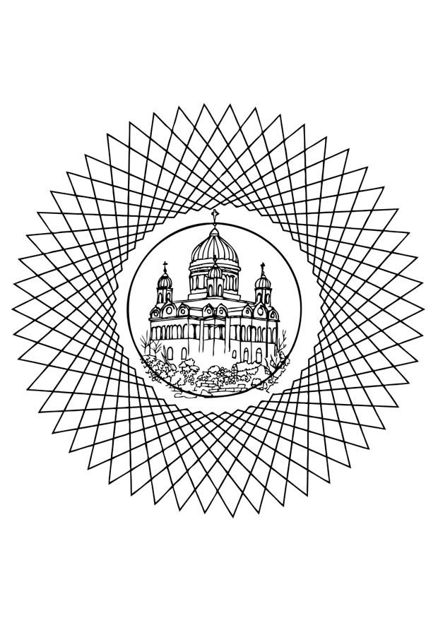 malvorlage kirche in mandala  ausmalbild 26358