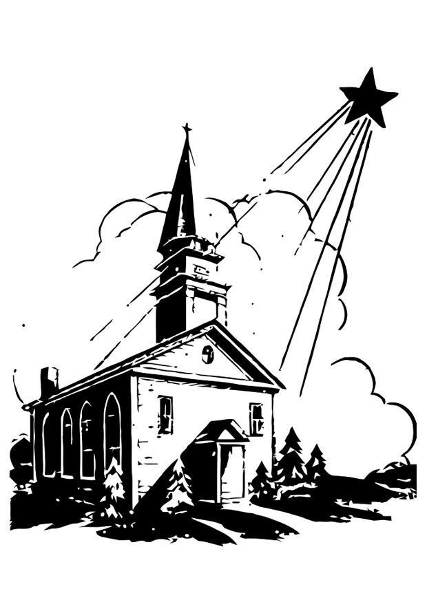 Malvorlage Kirche mit Weihnachtsstern | Ausmalbild 20373.