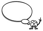 Malvorlage  Kleine Figur mit Textballon