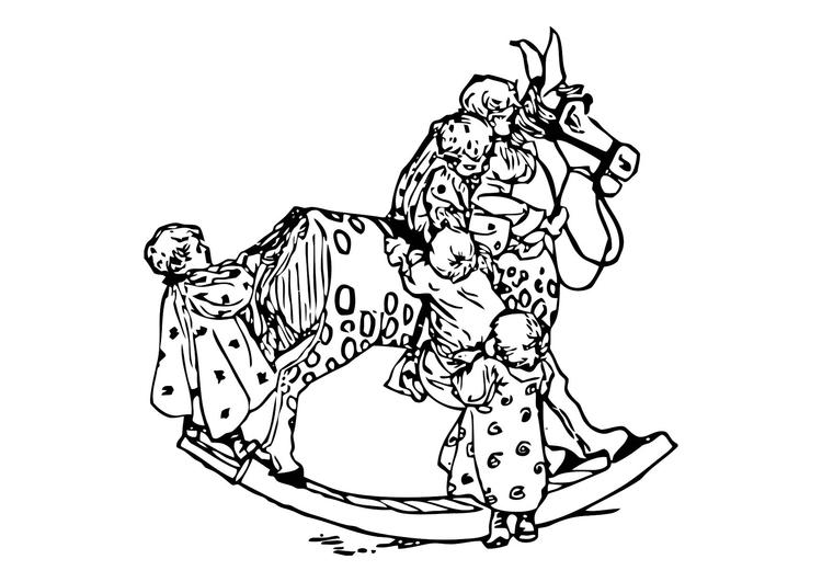 Malvorlage Kleinkinder auf einem Schaukelpferd | Ausmalbild 11881.