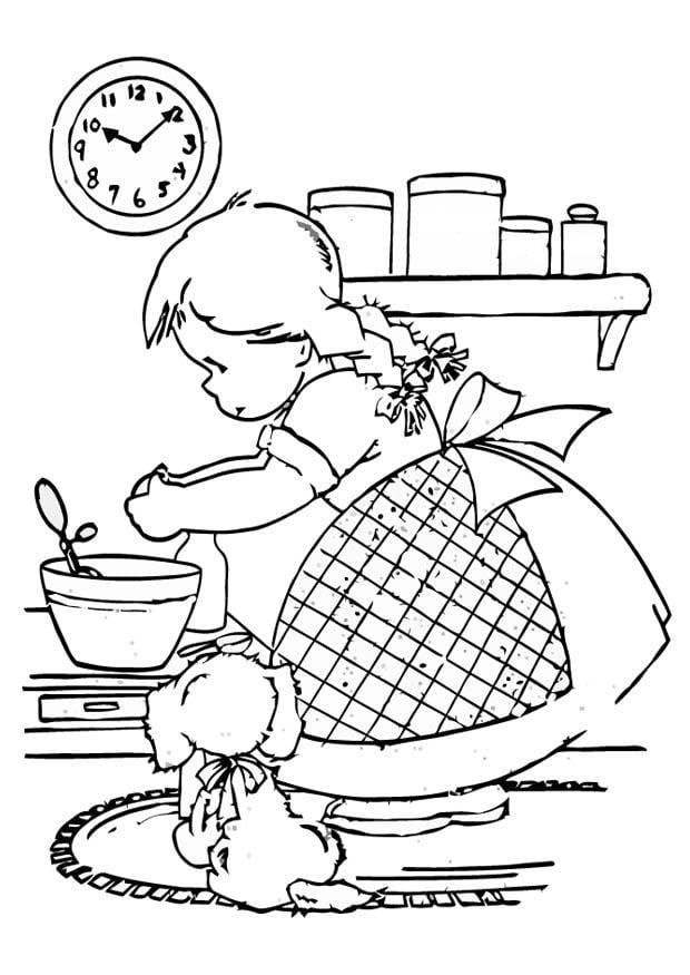 malvorlage kochendes m u00e4dchen