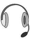 Malvorlage  Kopfhörer mit Mikrofon