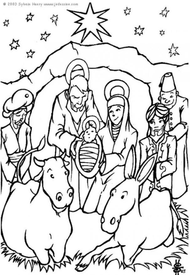 Malvorlage Krippe Weihnachten | Ausmalbild 6448.