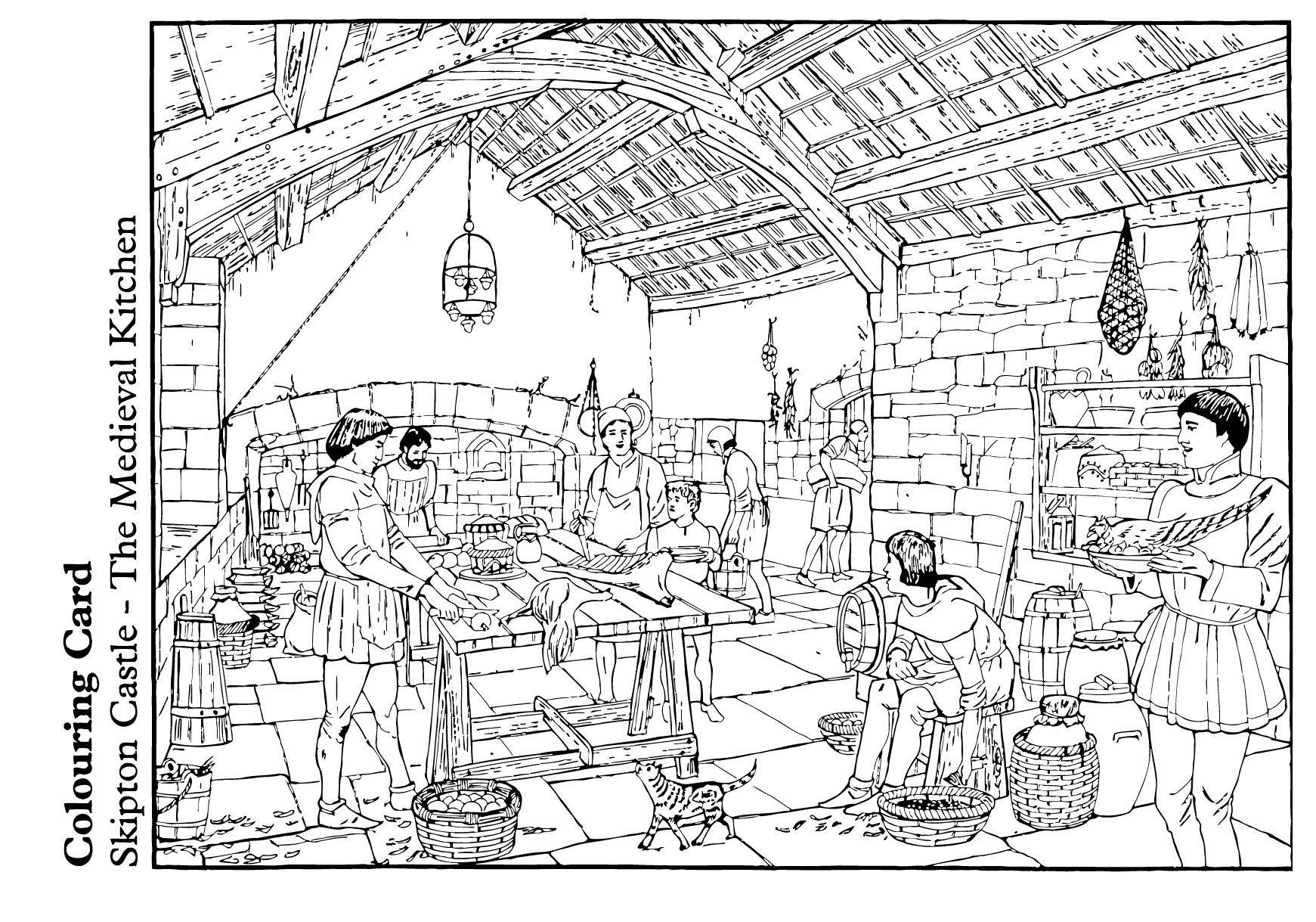 malvorlage küche im mittelalter  ausmalbild 14893
