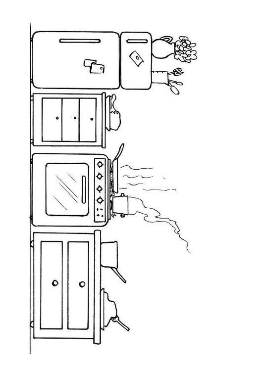 Ausmalbilder Küche Zum Ausdrucken: Malvorlage Küche