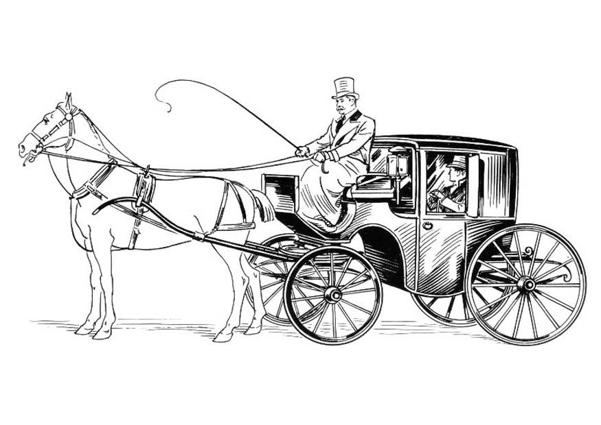 malvorlage kutsche mit pferd und reiter  kostenlose