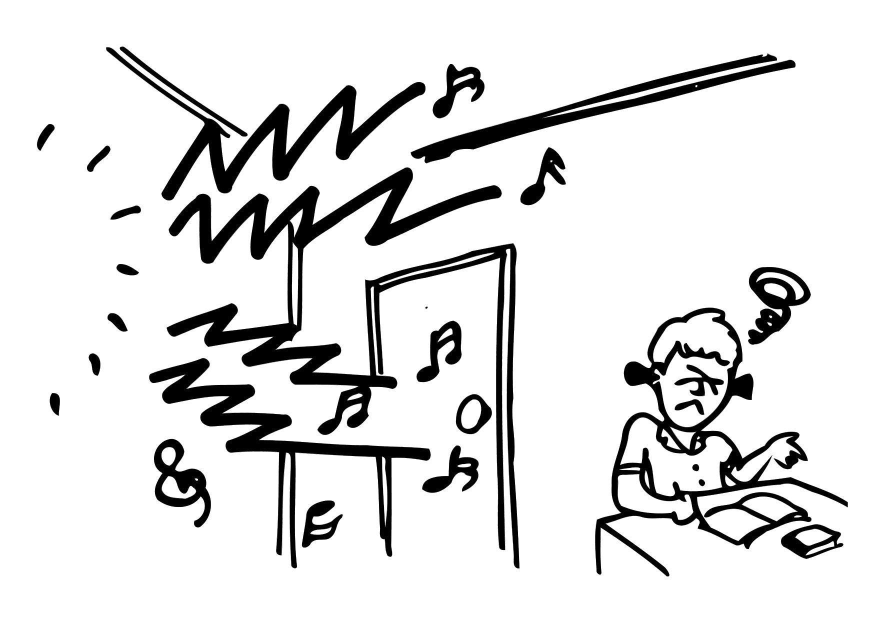 Malvorlage Lärm - lernen | Ausmalbild 12150.