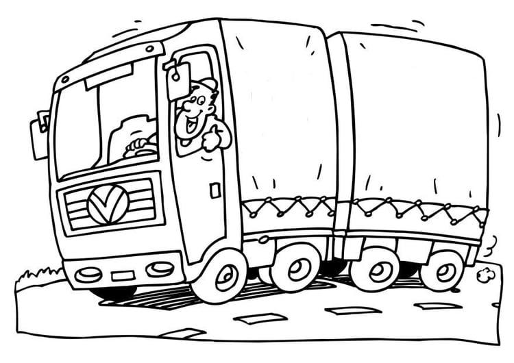 Malvorlage Lastwagen | Ausmalbild 6566.